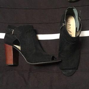 Barely worn black pep toe booties